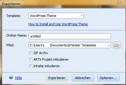 WordPress-Theme exportieren
