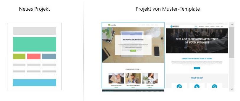 Man hat bei TemplateToaster die Wahl ein individuelles Projekt zu erstellen bzw. eine Vorlage zu verwenden.